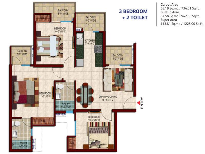 Nirala Estate - Floor Plan - 2BHK, 3BHK Flats in Nirala Estate